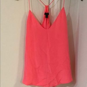 Jcrew Carrie cami bright coral pink 0 tank silk
